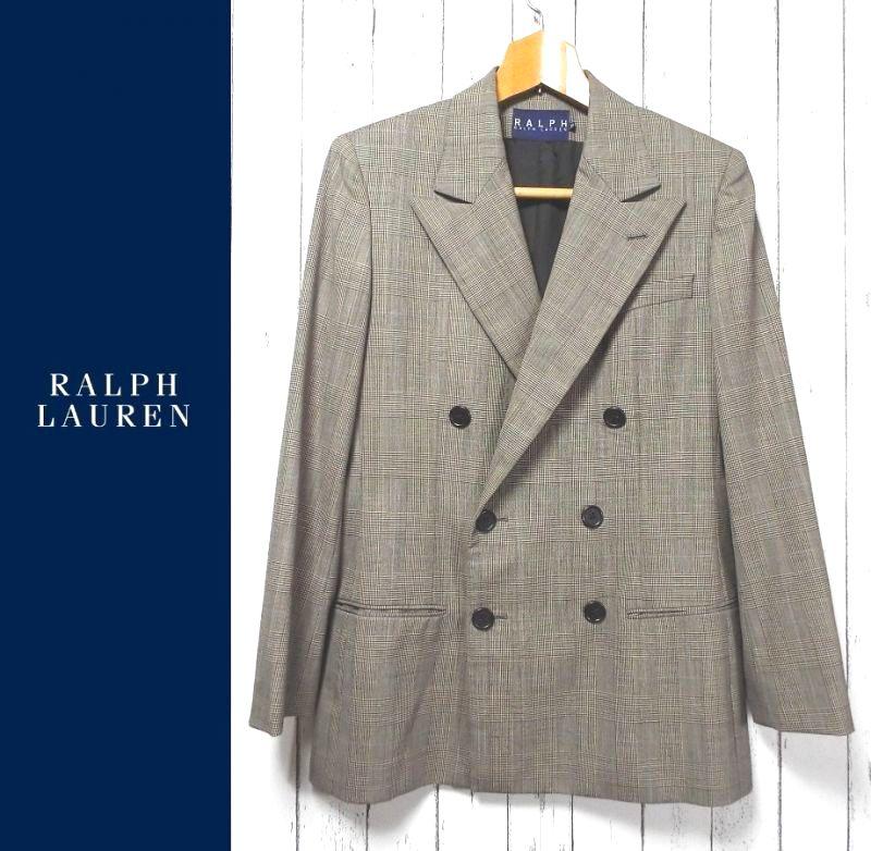 画像1: 【値下げしました】試着程度の美品USED!Ralph Lauren(ラルフローレン)6Bダブルジャケット|グレンチェック柄|サイズ:9号(身長:160cm・肩幅:42cm)|ウール100%|USED(ネーム刺繍あり) (1)