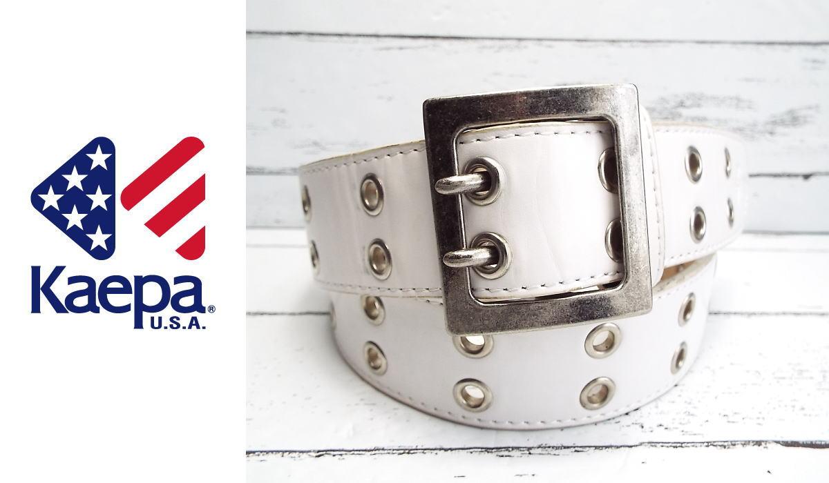 画像1: オーバーサイズで着用◎|ケイパ(Kaepa)|幅広 ホワイトベルト|ウエスト最大95cmまで対応可|USED|ユニセックス (1)