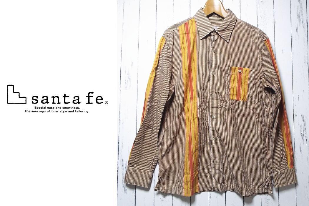 画像1: 【メンズ】santa fe(サンタフェ)ブラウン&イエローオレンジ ストライプ柄長袖シャツ|サイズ:48(肩幅:48.5cm)|USED (1)
