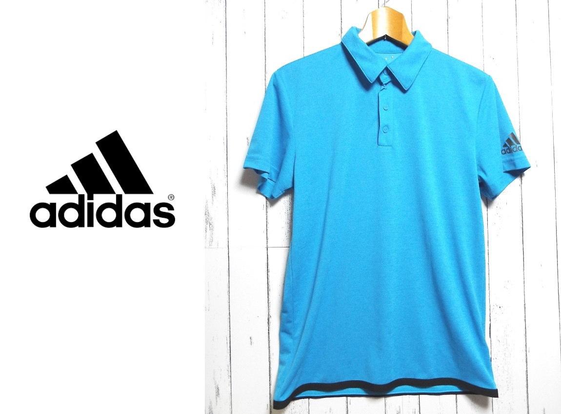 画像1: 【メンズ】アディダス(adidas)優れたク―リング性能「climachill」ポロシャツ|サイズ:L(|ブルー系|USED|スポーツウエア (1)