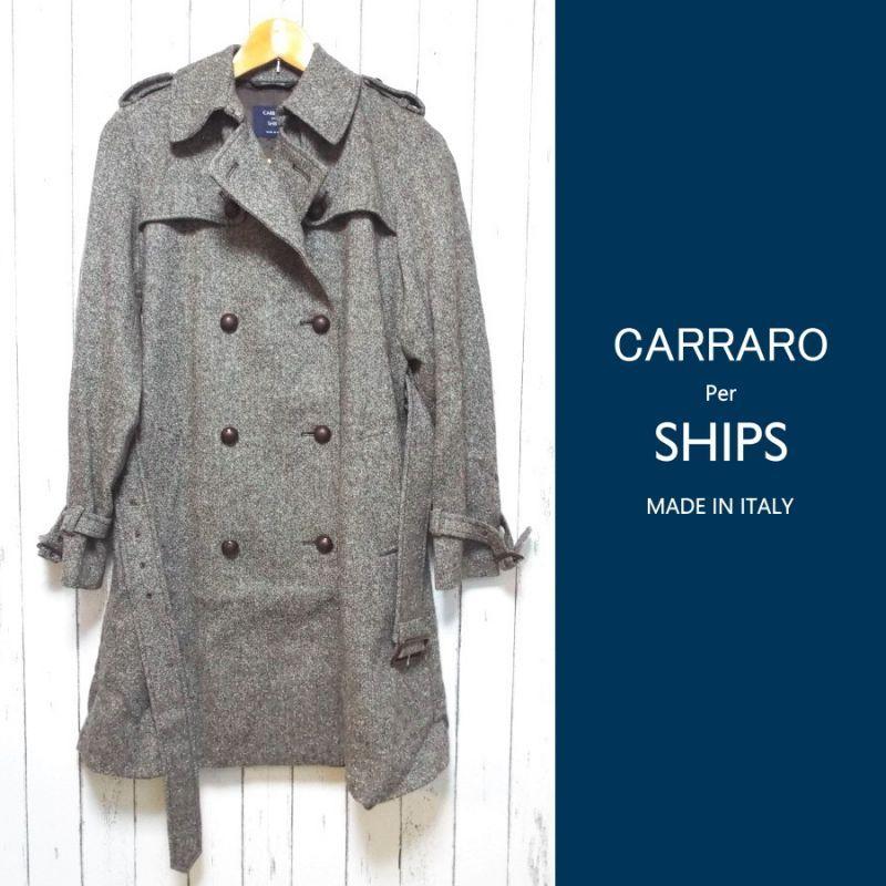 画像1: センスアップする1着|高級ライン|CARRARO per SHIPS イタリア製 ヴァージンウールツイードコート|肩幅:36.5cm|フリーサイズ| (1)