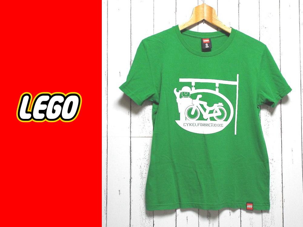 画像1: 大人カワイイ1着!レゴ( LEGO)CYKELFORRETNING デザイン入り 半袖Tシャツ(カットソー) サイズ:S(42cm) グリーン系 USED【メンズ】【レディース】 (1)