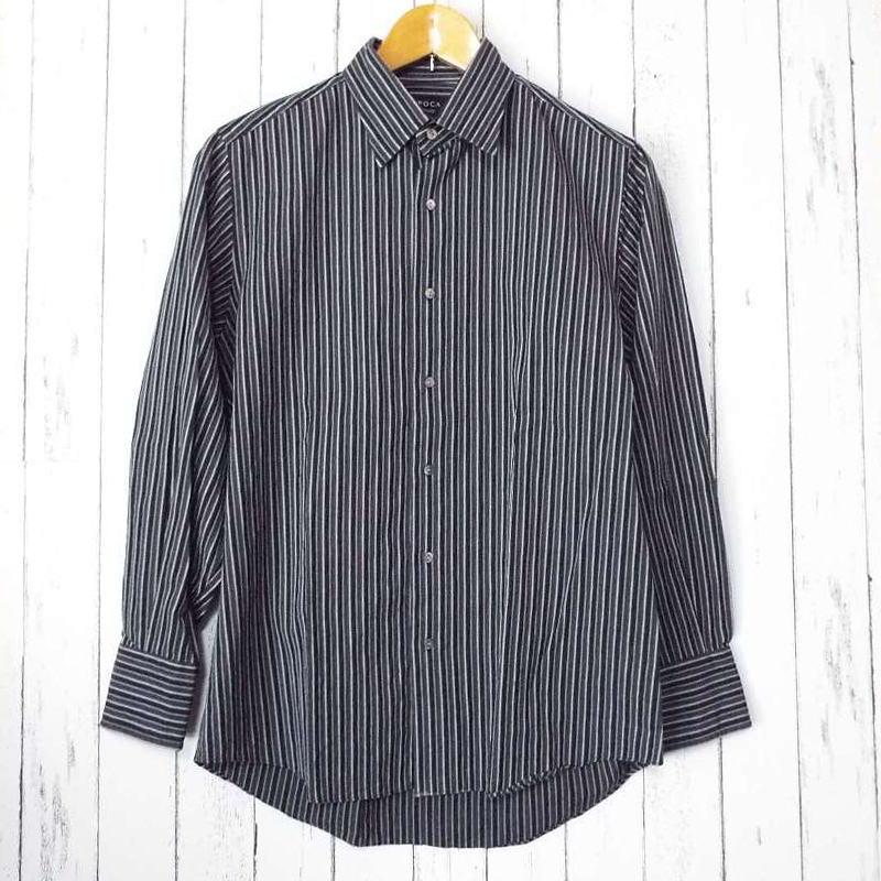 画像1: 【メンズシャツ特集】シックな大人の装い|EPOCA(エポカ)ストライプ柄ブラウングレー系長袖シャツ|サイズ:46|USED (1)
