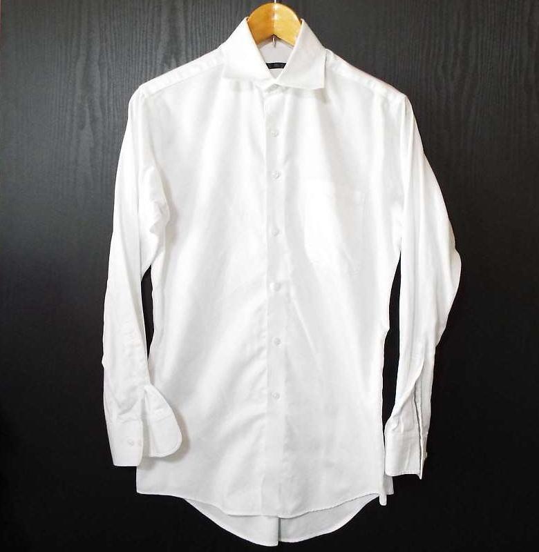 画像1: 【メンズシャツ特集】スーツセレクト(SUIT SELECT)形状記憶 ワイドスプレッド Y(ワイ)シャツ|ホワイト系|サイズ:M80|USED (1)