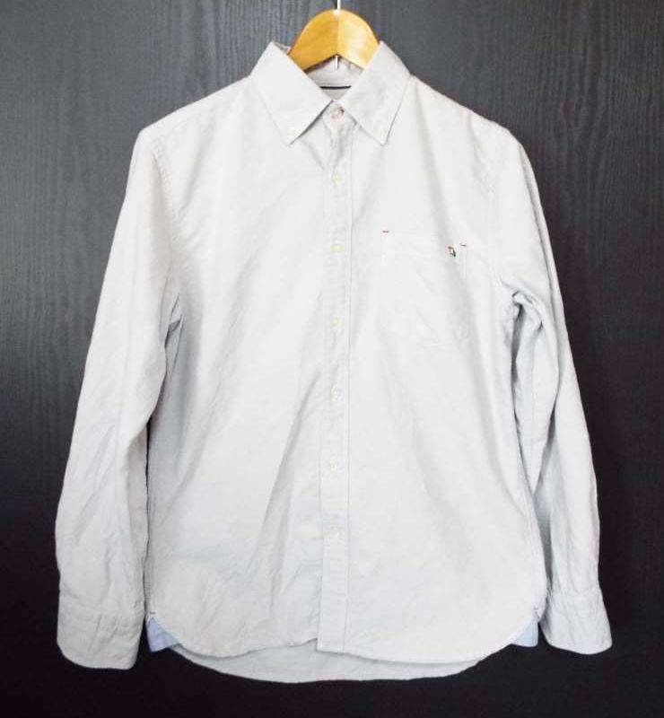 画像1: 【メンズシャツ特集】arnold palmer(アーノルドパーマー)ワンポイント入り  ボタンダウン(BD)長袖シャツ ライトグレー系|サイズ:2|USED|古着 (1)