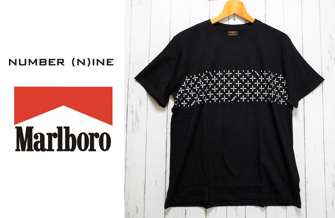 画像1: 【非売品(ノベルティ)】未使用 Marlboro×Number (N)ine マルボロ×ナンバーナインコラボ限定Tシャツ  サイズ:フリー ブラック キャンペーン景品 (1)