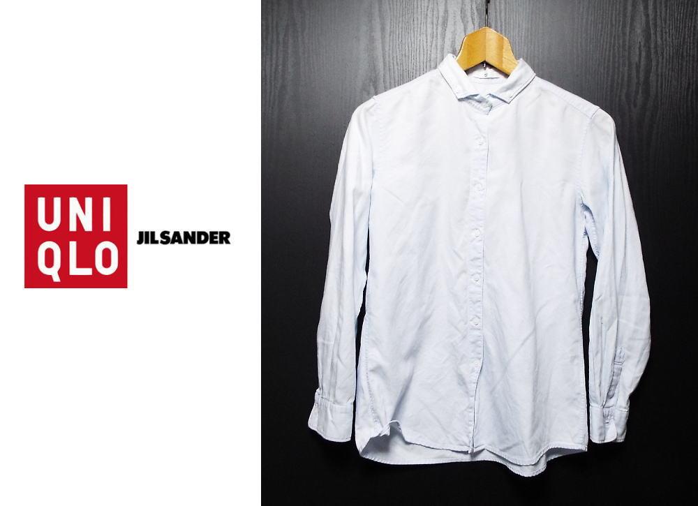 画像1: 素敵なコラボシャツ!ユニクロ UNIQLO +J ジルサンダー ボタンダウン(BD)長袖シャツ|ブルー系|サイズ:S(肩幅:38.5cm)USED【レディース】 (1)