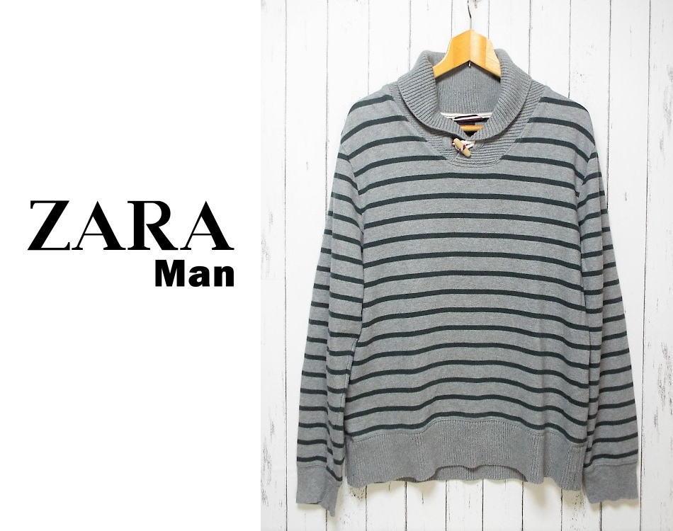 画像1: ビックシルエットが◎| ZARA MAN(ザラマン)グレー×グリーンボーダー柄長袖襟つきトレーナー(スウェット)|サイズ:XL(185・104A)|USED|メンズ (1)