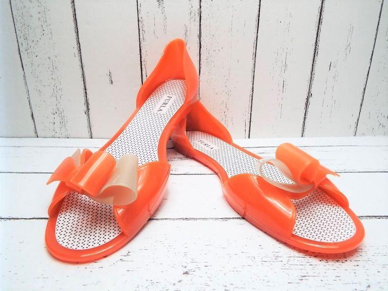 画像1: 夏に映える1足 FURLA(フルラ)  CANDY(キャンディー) オープントゥ PVCサンダル サイズ:39(24cm前後)オレンジ×ベージュ レディース (1)