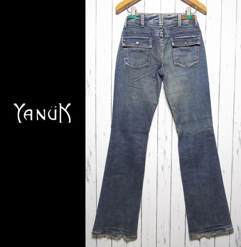 画像1: お洒落な女性にオススメの1本 アメリカ製セレブブランド ヤヌーク(YANUK) Worker Classic デニムパンツ ジーンズ サイズ:25(ウエスト:77cm) レディース  USED (1)