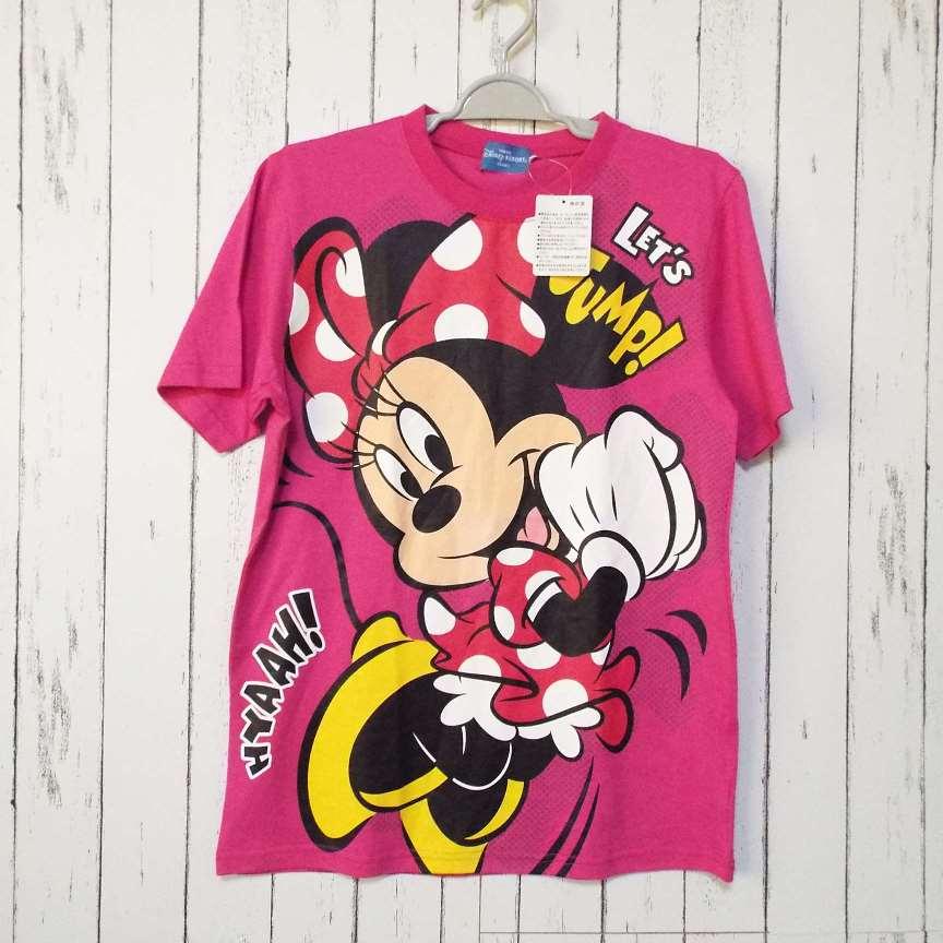 画像1: 新品未使用 東京ディズニーリゾート限定 LET'S JUMP Tシャツ(ミニー柄)|サイズ:S(肩幅:41cm)ユニセックス  (1)