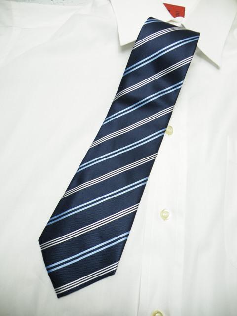 画像1: 【新品】MARC COSTAR  ストライプ織柄 ネクタイ ブルーネイビー系 シルク50%・ポリエステル50%  (1)
