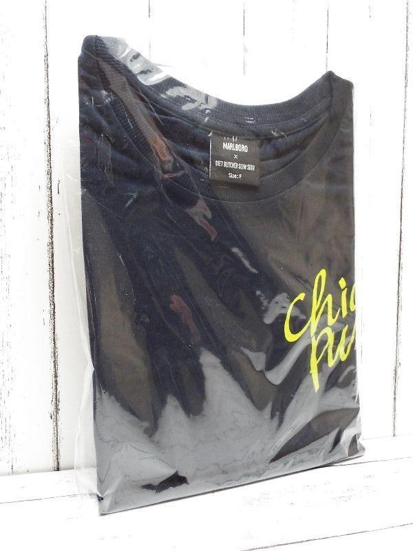 画像1: 送料安!【新品未使用|非売品】DIET BUTCHER SLIM SKIN(ダイエットブッチャースリムスキン)×マルボロ(MARLBORO) コラボ Tシャツ|ダークネイビー×イエローロゴ入り|フリーサイズ (1)
