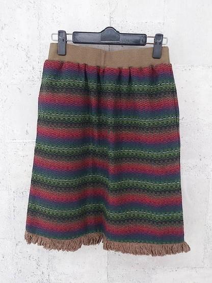 画像1: ウエストゴム入りの素敵な1着!BEAMS HEART(ビームス ハート)ナチュラルボーダー柄 膝(ミディ)丈 スカート グリーン系 サイズ:フリー(ウエスト:60〜64cm)USED ブランド古着 (1)