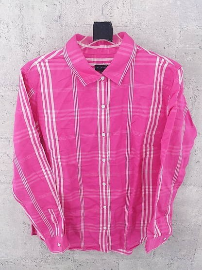 画像1: 綺麗で上品なお色が◎ Talbots(タルボット)チェック柄 長袖シャツ  ピンク系|サイズ:8(肩幅:43cm・13号相当)USED【レディース】 (1)