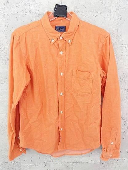 画像1: オシャレな綺麗系カラー|jounal standard(ジャーナルスタンダード) ボタンダウン(BD) 長袖シャツ オレンジ|サイズ:M(肩幅:43.5cm)USED|メンズ (1)