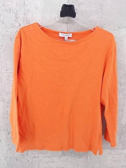 画像1: 差し色づかいに◎URBAN RESEARCH(アーバンリサーチ) 長袖Tシャツ(カットソー) ボートネック  オレンジ系 サイズ:S(肩幅:46cm)USED ユニセックス (1)